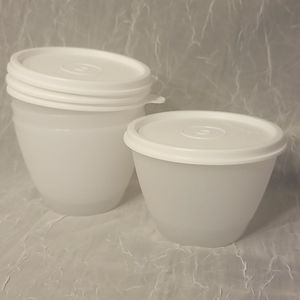 4 Tupperware Refrigerator Bowls Clear/White Lids